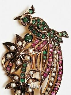Vintage Victorian Revival Sterling Ruby, Emerald & Pearl Bird of Paradise Brooch
