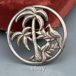 Vintage Victorian Revival Sterling Silver Birds foliage Pin Brooch