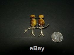 Vintage WRE SCARAB LOVE BIRDS PIN kissing birds brooch 1/20 12KGF