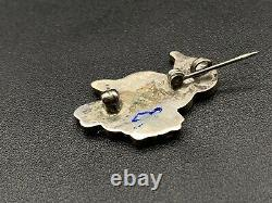 Vintage Zuni Bird Turquoise MOP Coral Sterling Silver Pin Brooch Pendant