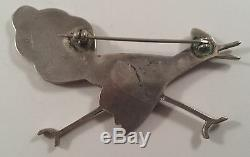 Vintage Zuni Indian Sterling Silver Running Bird Onyx MOP Shell Pin Brooch