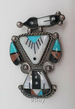 Vintage Zuni Magpie, bird brooch by Lucy Ceshu or Quincy Panteah