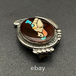 Vintage Zuni Quail Bird Turquoise Coral MOP Sterling Silver Brooch Pendant