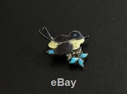 Vintage Zuni Sterling Silver Turquoise MOP Bird Pin Brooch Pendant