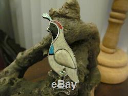 Vintage Zuni Sterling Turquoise Quail Bird Brooch 8.9 gr