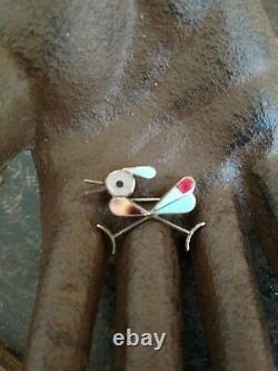 Vintage Zuni roadrunner bird sterling, Turquoise, Coral, shell, brooch pendant