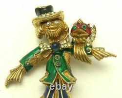 Vintage and Rare CINER Scarecrow & Bird Brooch Enamel and Rhinestones Adorable