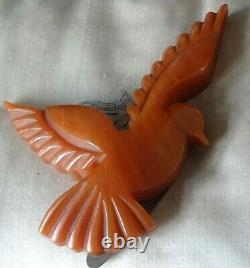 Vintage art deco BAKELITE amber dove flying bird dress clip brooch 1930s -H34