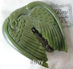 Vintage art deco swirl green carved lucite eagle bird dress clip brooch 30s -60