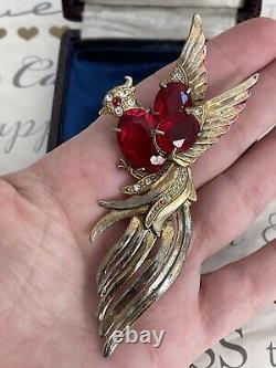 Vintage brooch Bird Large Red Rhinestones Antique 1930s-1940s Very Rare Pin