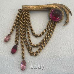 Vintage early JOSEFF of Hollywood BROOCH, Bird Talons holding red stone, chains