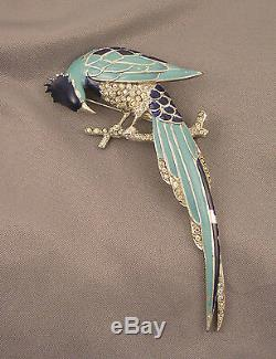 Vintage early MB mark Marcel Boucher Enameled Pave Rhinestone Exotic Bird Brooch