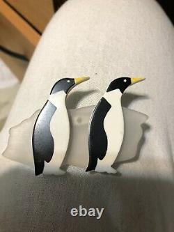 Vintage guillemette l'hoir Paris Marching Penguin Birds Pin Brooch memphis Deco