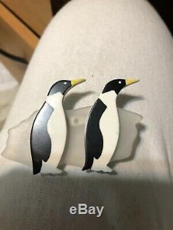 Vintage guillemette l'hoir couture Marching Penguin Birds Pin Brooch memphis