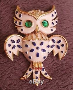 Vintage signed Crown Trifari Pet Series Owl Brooch Enamel Blue White Green Bird