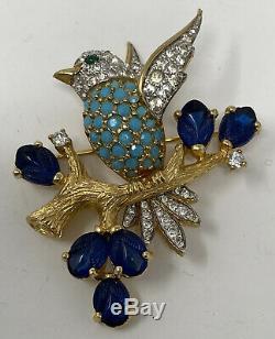 Vintage signed JOMAZ Joseph Mazer Fruit Salad Jeweled Bird on Branch Brooch Pin