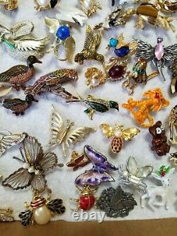 Vtg 100p Brooch Nice Lot All Animal Critter Bird 28 Signed Rhinestone Enamel Bug