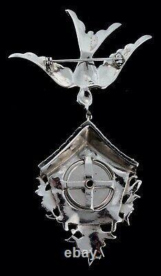 Vtg 1941 CORO Rhinestone Enamel Bird Cuckoo Clock Brooch Photo Locket Book Piece