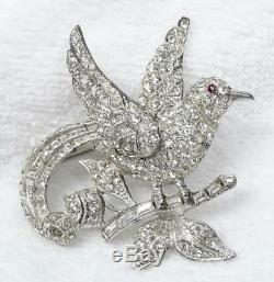 Vtg Coro Craft Sterling & Sparkling Bright White Crystal Rhinestone Bird Brooch