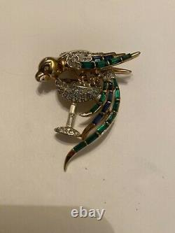 Vtg Crown Trifari Exquisite Green Blue Baguette & Rhinestone Bird Brooch As Is