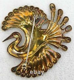 Vtg David Andersen Norway Gilt Sterling Purple Enamel Bird of Paradise Brooch
