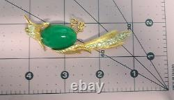 Vtg Faux Jade Green Peking Glass Gripoix Mogul Rhineston Parrot Bird Brooch Pin