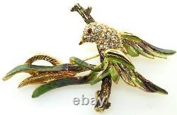 Vtg HTF HATTIE CARNEGIE Bird On A Branch Enamel Rhinestone Figural Brooch Pin