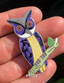 Vtg JF Jeronimo Fuentes Taxco Mexico Sterling Silver Enamel Owl Pin Brooch