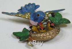 Vtg Jewelry Fabulous Brooch Blue Bird Feeding Babies in Nest! 1940s