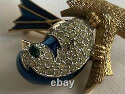 Vtg Jomaz Blue Bird Wren on Branch Rhinestone & Enamel Brooch