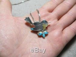 Vtg N. American by Eva Etsate Sterling Inlay Stones Bird Brooch Pendant necklace