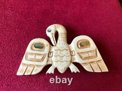 Vtg Patty Fawn Abalone Accents Phoenix Bird Brooch, Signed