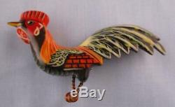 Vtg RARE Takahashi style Hand Painted Rooster Bird Pin Brooch Carved Wood