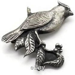 Vtg Sid Bell Cardinal Bird Pin Sterling Silver Brooch Tully NY Rare Signed 87