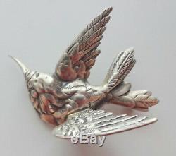 Vtg Signed Jewelart Retro Sterling Silver Figural Hummingbird Bird Pin Brooch
