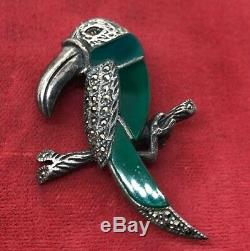Vtg Sterling Silver Brooch Pin 925 Art Deco While Toucan Bird Marcasite Glass