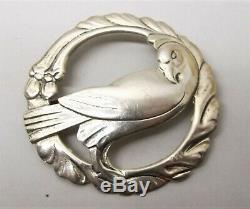 Vtg Sterling Silver Dove Bird Brooch Pin Large Floral Georg Jensen George MCM