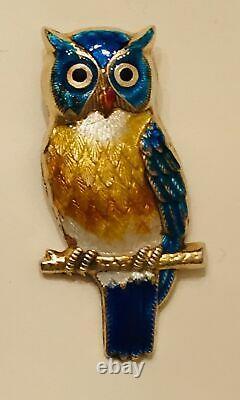 Vtg Sterling Silver Enamel Owl Bird Brooch Pin Pendant Guilloche Antique Large