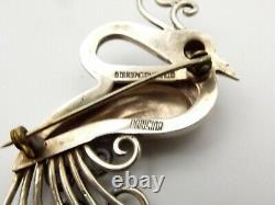 Vtg Sterling Silver Peacock Brooch Pin Bird Scroll Boucher Parisina Mexico