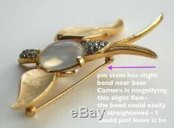 Vtg TRIFARI 1960s Fantasies Opal Moonstone, Jelly Belly, Rhinestone Bird Brooch