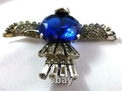 Vtg TRIFARI Alfred Philippe Sterling Deep Sapphire Blue & Rhinestone Bird Brooch