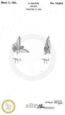 Vtg TRIFARI Art Deco Pave Rhinestone Fluttering Birds CLIPMATE Duette Brooch Pin