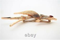 Vtg Trifari Gold Tone Bird in Flight Brooch withRed Eye from Birds of Fashion Line