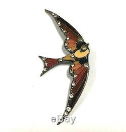 Vtg Unsigned PIERRE BEX ART DECO Rhinestone & Enamel BIRD Brooch Silver FF121u