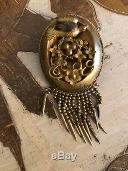 Wonderful Early Antique Etruscan Gilt Brooch Swallow Birds Nest Floral Pin